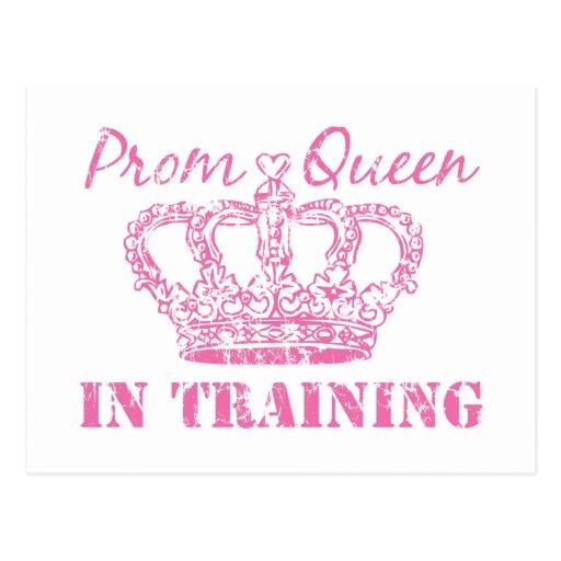 Reina de baile de fin de curso en el entrenamiento postales
