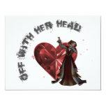 Reina de corazones - apagado con su cabeza invitación 10,8 x 13,9 cm