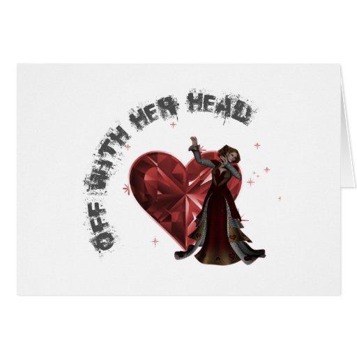 Reina de corazones - apagado con su cabeza tarjeton