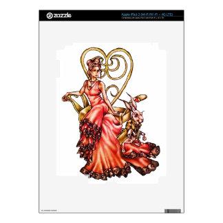 Reina de corazones con el dibujo blanco del conejo iPad 3 pegatinas skins