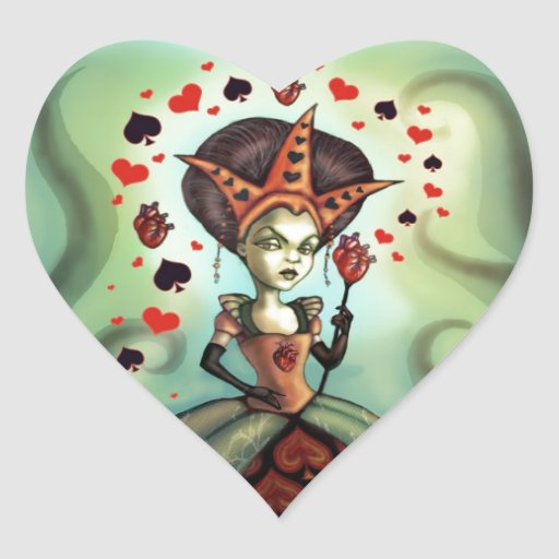 Reina de corazones pegatina en forma de corazón
