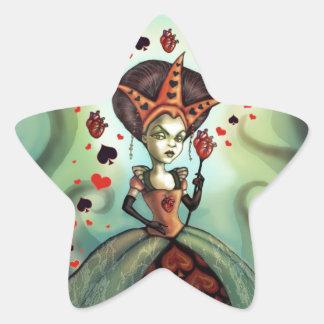 Reina de corazones pegatina en forma de estrella