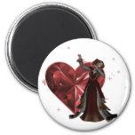 Reina de corazones y de la joya del corazón - rojo imán para frigorífico