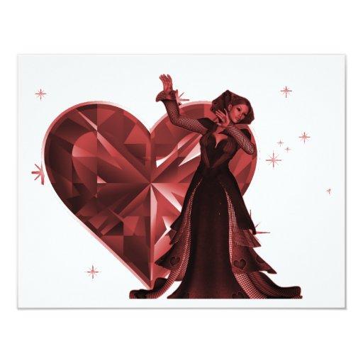 Reina de corazones y de la joya del corazón - rojo invitación 10,8 x 13,9 cm