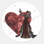 Reina de corazones y de la joya del corazón - rojo pegatinas redondas