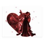 Reina de corazones y de la joya del corazón - rojo postal