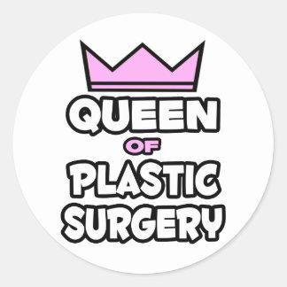 Reina de la cirugía plástica pegatinas redondas