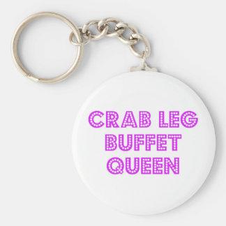 Reina de la comida fría de la pierna de cangrejo llavero redondo tipo pin