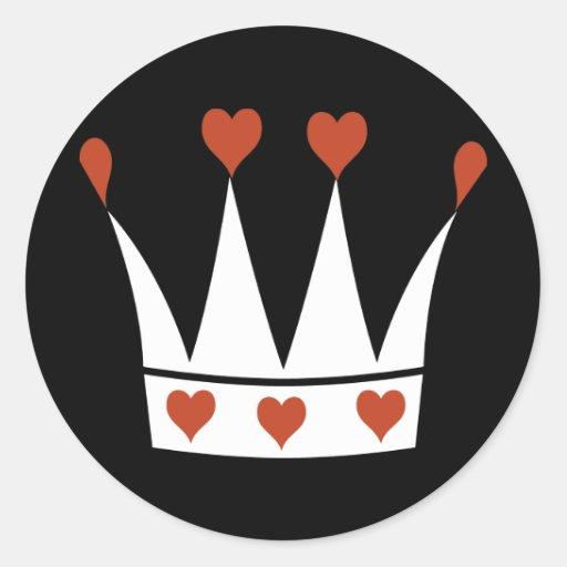 Reina de la corona de los corazones pegatina redonda