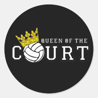 Reina de la corte pegatina redonda