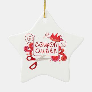 Reina de la cupón adorno navideño de cerámica en forma de estrella