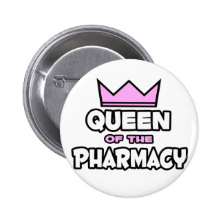 Reina de la farmacia pin redondo de 2 pulgadas
