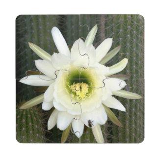 Reina de la flor del cactus de la noche, región posavasos de puzzle