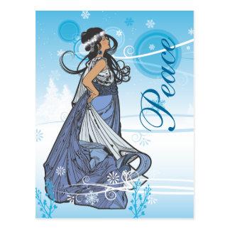 Reina de la nieve del día de fiesta postal