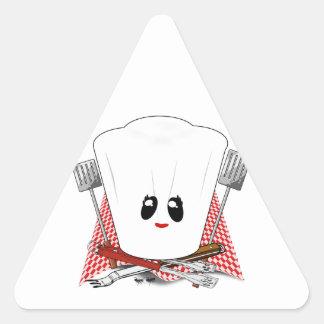 Reina de la parrilla - el gorra del cocinero y calcomania de triangulo personalizadas
