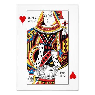 Reina de la tarjeta del póker + El rey de casarse Invitaciones Personalizada