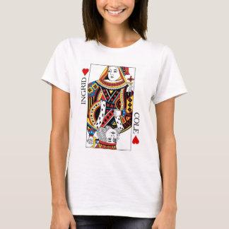 Reina de la tarjeta del póker y rey del regalo de playera