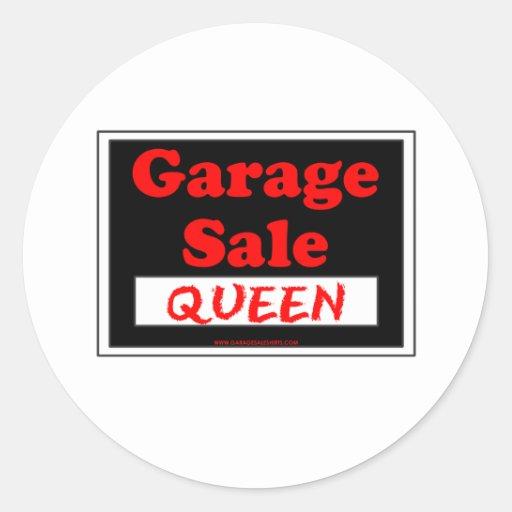 Reina de la venta de garaje pegatina redonda
