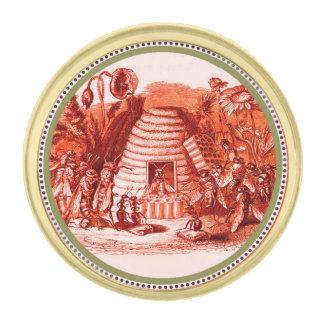 REINA DE LAS ABEJAS DE LA MIEL EN SKEP/APICULTOR PINS DORADOS