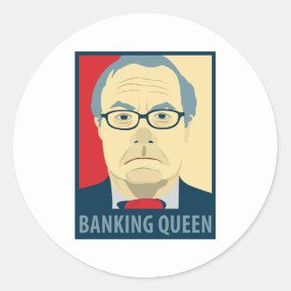 Reina de las actividades bancarias de Anti-Barney Pegatinas Redondas