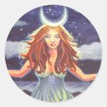 Reina de las mareas - pegatinas del arte de la pegatinas redondas