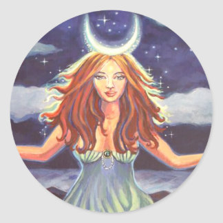 Reina de las mareas - pegatinas del arte de la pegatina redonda