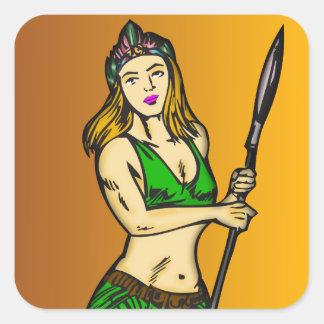 Reina de las mujeres del Amazonas Pegatina Cuadrada