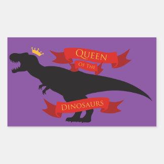 Reina de los dinosaurios pegatina rectangular