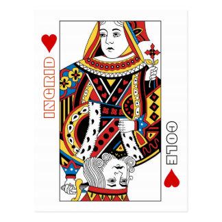 Reina de los naipes + El rey de corazones ahorra Postal