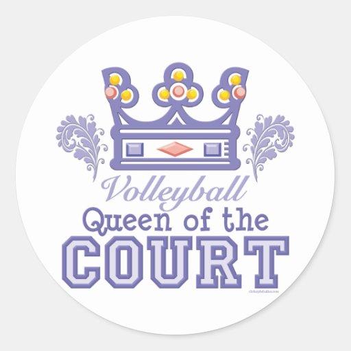 Reina de los pegatinas del voleibol de la corte pegatina redonda