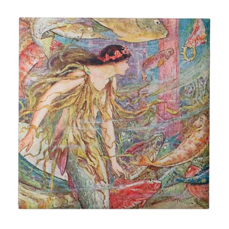 Reina de los pescados - libro de hadas anaranjado azulejo cuadrado pequeño