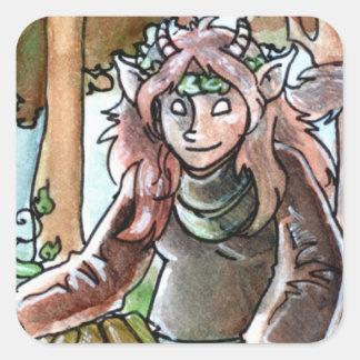 Reina de monedas pegatina cuadrada
