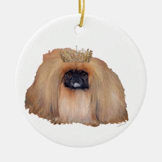Reina de Pekingese Ornamento Para Arbol De Navidad