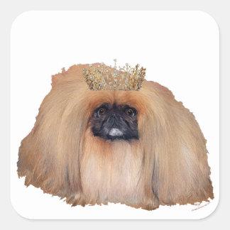 Reina de Pekingese (personalizar si usted desea!) Pegatina Cuadrada
