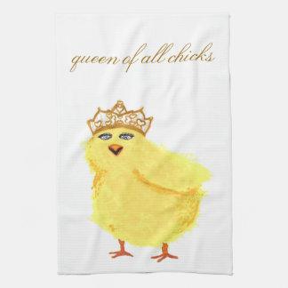 reina de toda la toalla de cocina de los polluelos