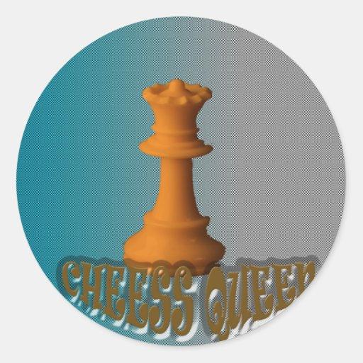 Reina del ajedrez pegatina redonda