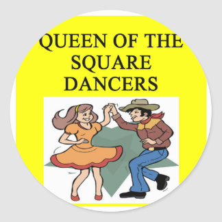 reina del baile cuadrado pegatina redonda
