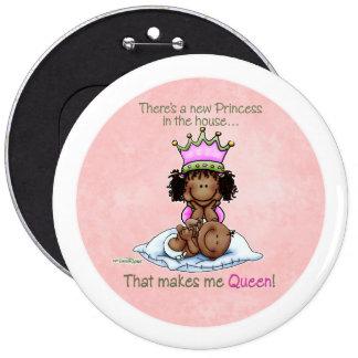 Reina del botón grande afroamericano de la princes pin