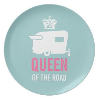 Reina del campista del vintage del camino platos