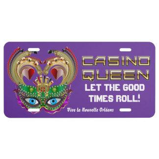 Reina del casino del carnaval leída sobre diseño placa de matrícula