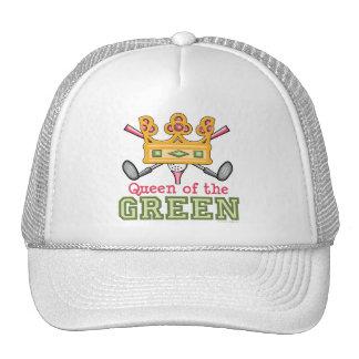 Reina del casquillo de golf para mujer verde gorras de camionero