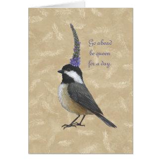 Reina del Chickadee para una tarjeta del día