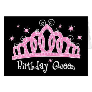 Reina del cumpleaños de la tiara tarjeta de felicitación
