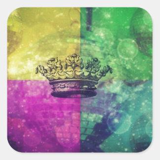 Reina del disco pegatina cuadrada