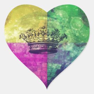 Reina del disco pegatina en forma de corazón