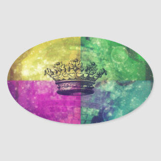 Reina del disco pegatina ovalada