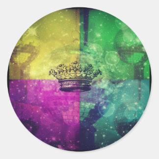 Reina del disco pegatina redonda