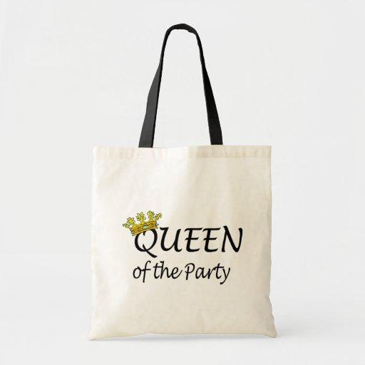 Reina del fiesta bolsas lienzo