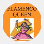 reina del flameno pegatina redonda