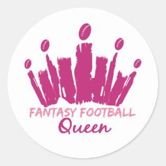 Reina del fútbol de la fantasía etiqueta redonda